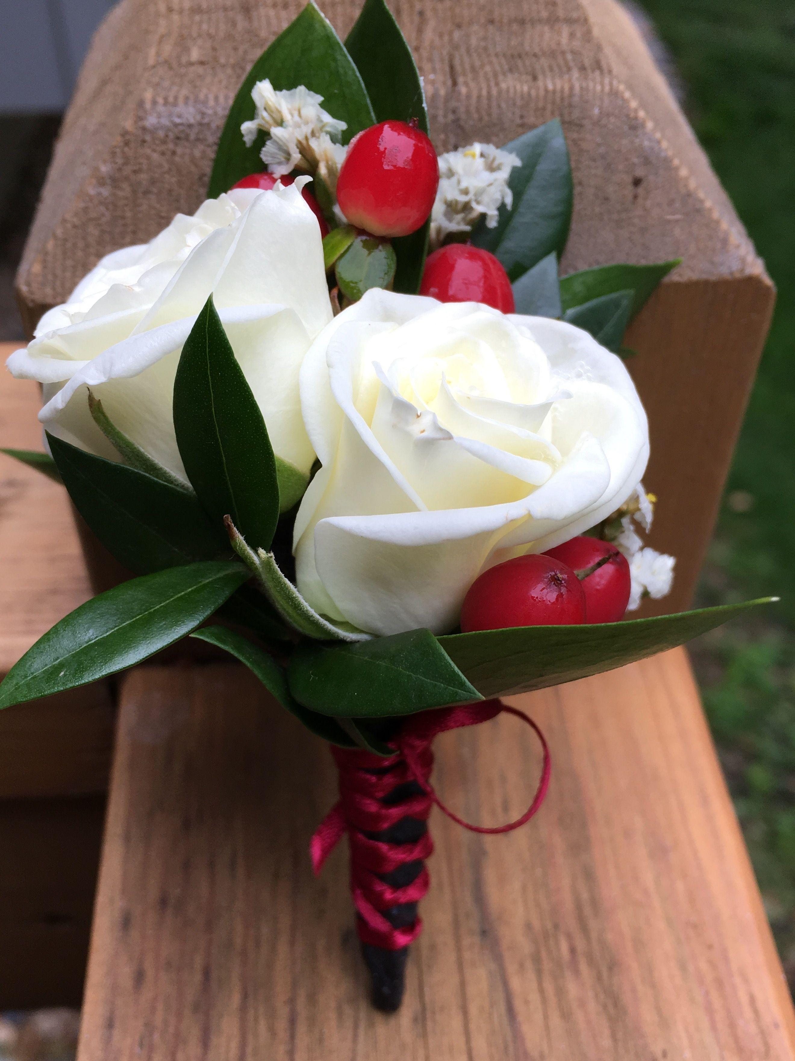 White Spray Rose Red Hypericum Berry Limonium Italian Ruscus Israeli