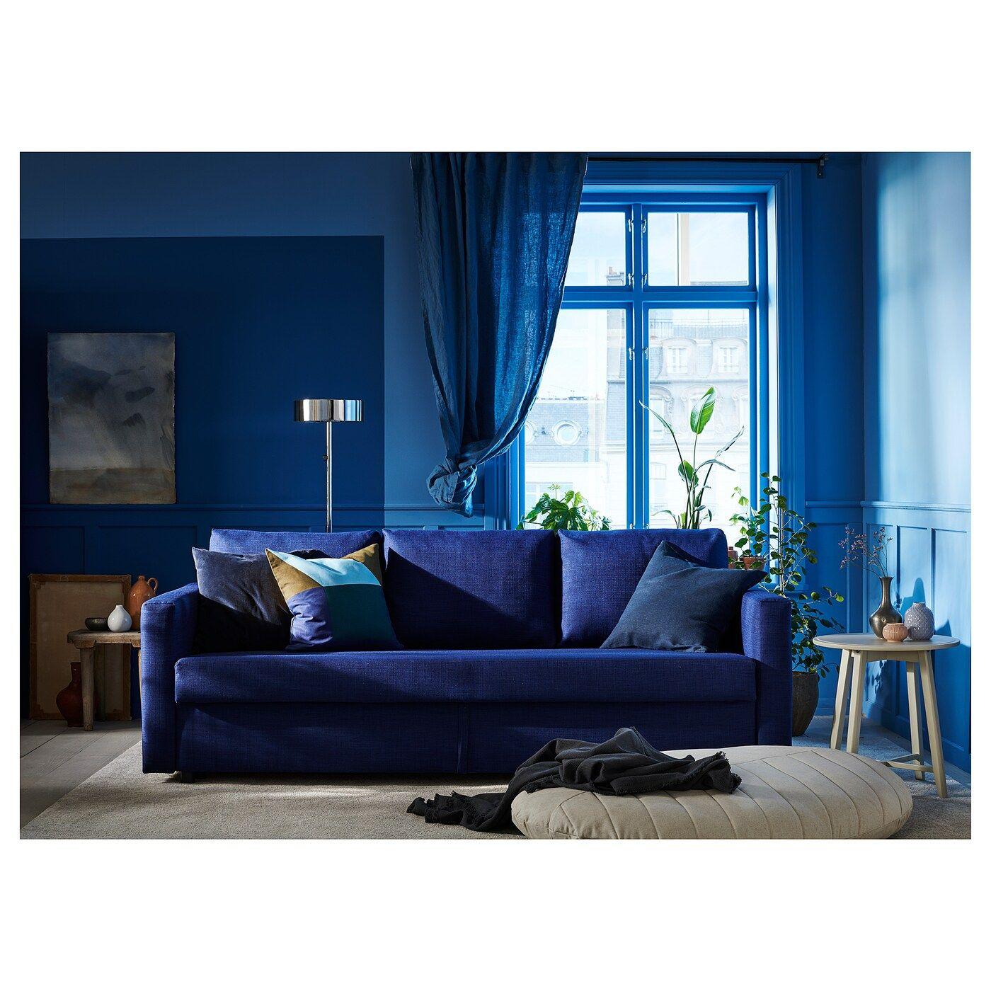 Friheten 3er Bettsofa Skiftebo Blau Ikea Osterreich Blue Velvet Sofa Living Room Sleeper Sofa Velvet Sofa Living Room