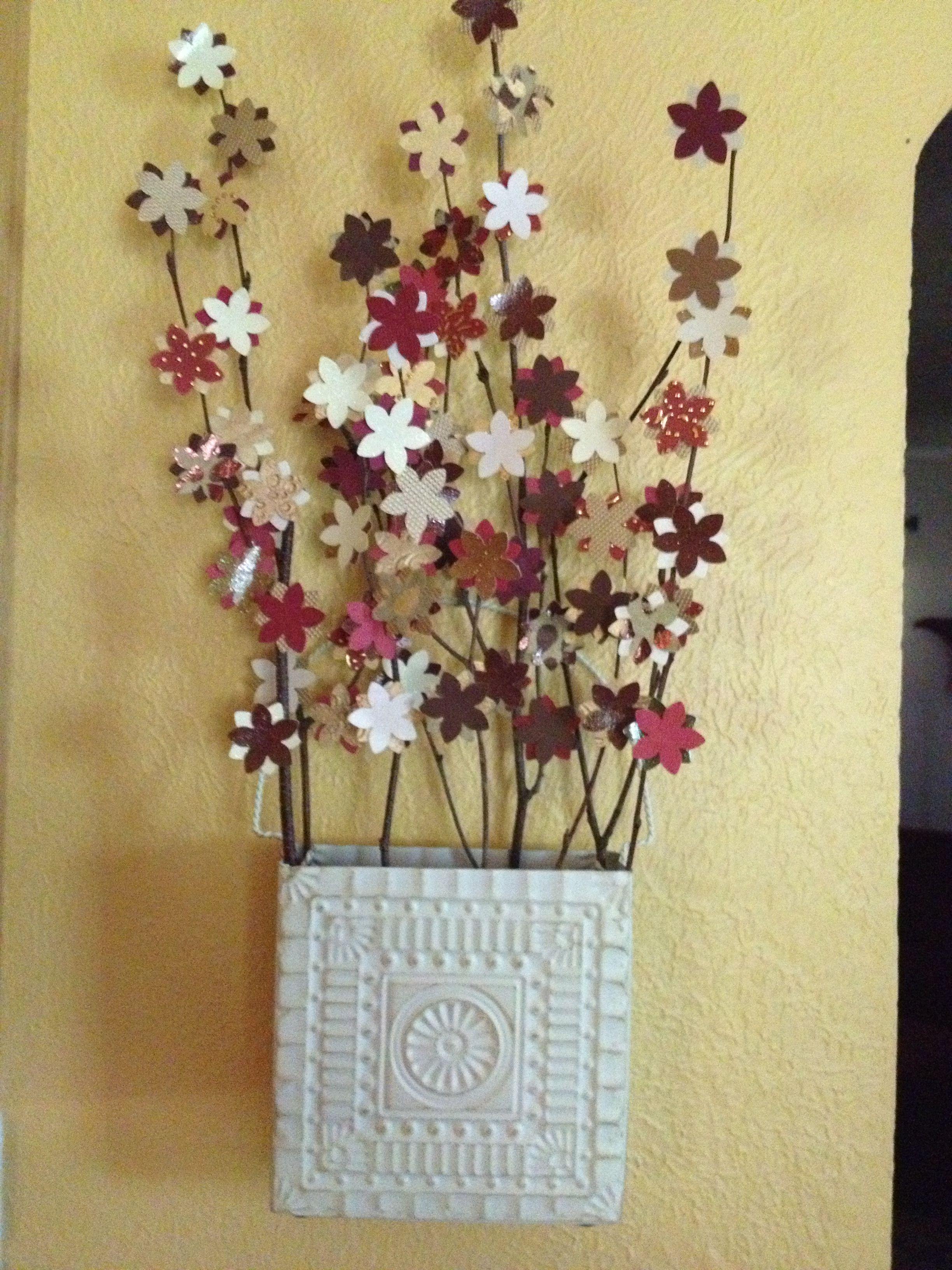 Scrapbook paper art projects - Hanging Metal Vase With Scrapbook Paper Flowers