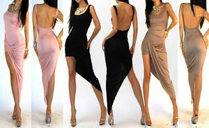 | ... Front Open Back Jersey Rayon Knit Cocktail Party Low High Dress SML