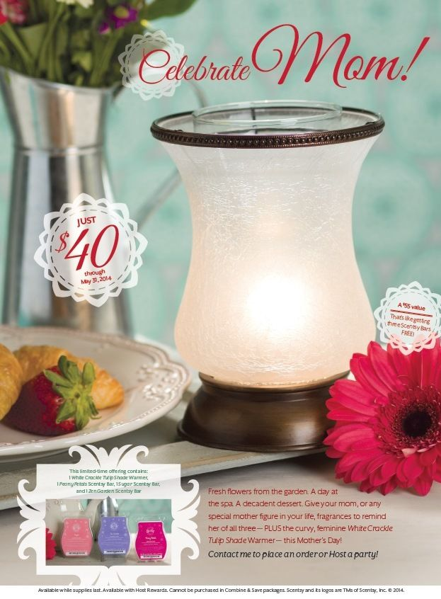 #Scentsy #MothersDay Bundle just $40 ($55 Value! It's like getting 3 bars #FREE) contains: 1 White Crackle Tulip Shade Warmer, 1 Peony Petals Scentsy Bar, 1 Sugar Scentsy Bar, and 1 Zen Garden Scentsy Bar. Fresh #flowers from the garden. A day at the #spa. A decadent #dessert. Give your #mom, or any special #mother figure in your life, #fragrances to remind her of all three—PLUS the curvy, feminine White Crackle Tulip Shade Warmer—this Mother's Day! Available while supplies last. #beautiful