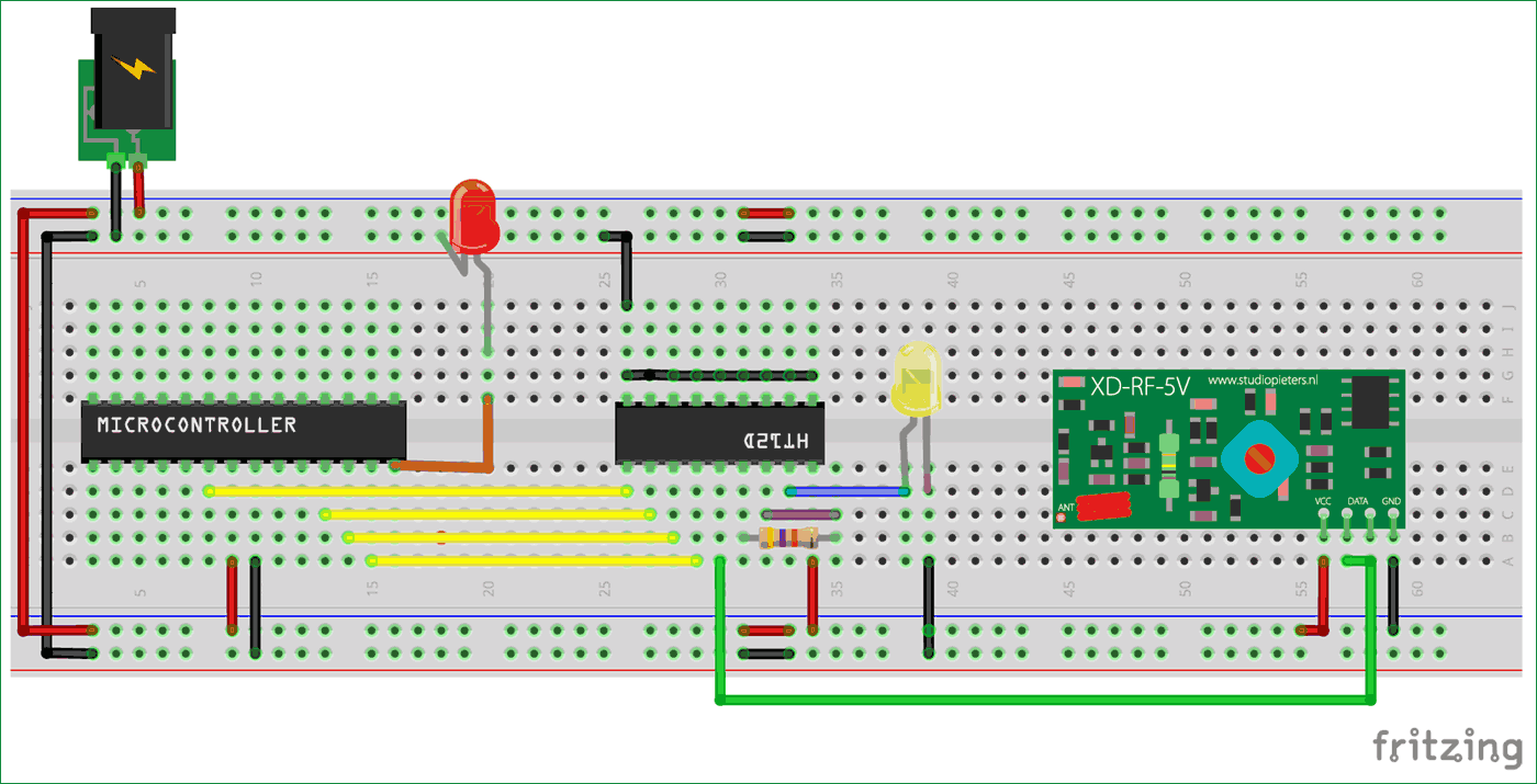 Circuit Diagram Of Receiver Part For Interfacing Rf Module With Transmitter Atmega8