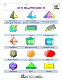 List of geometric shapes - names, number of sides 3d col