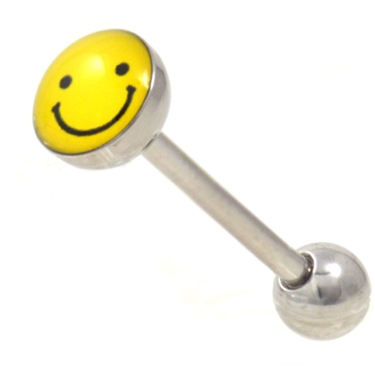Tongue Barbell with Smiley Face design 14g