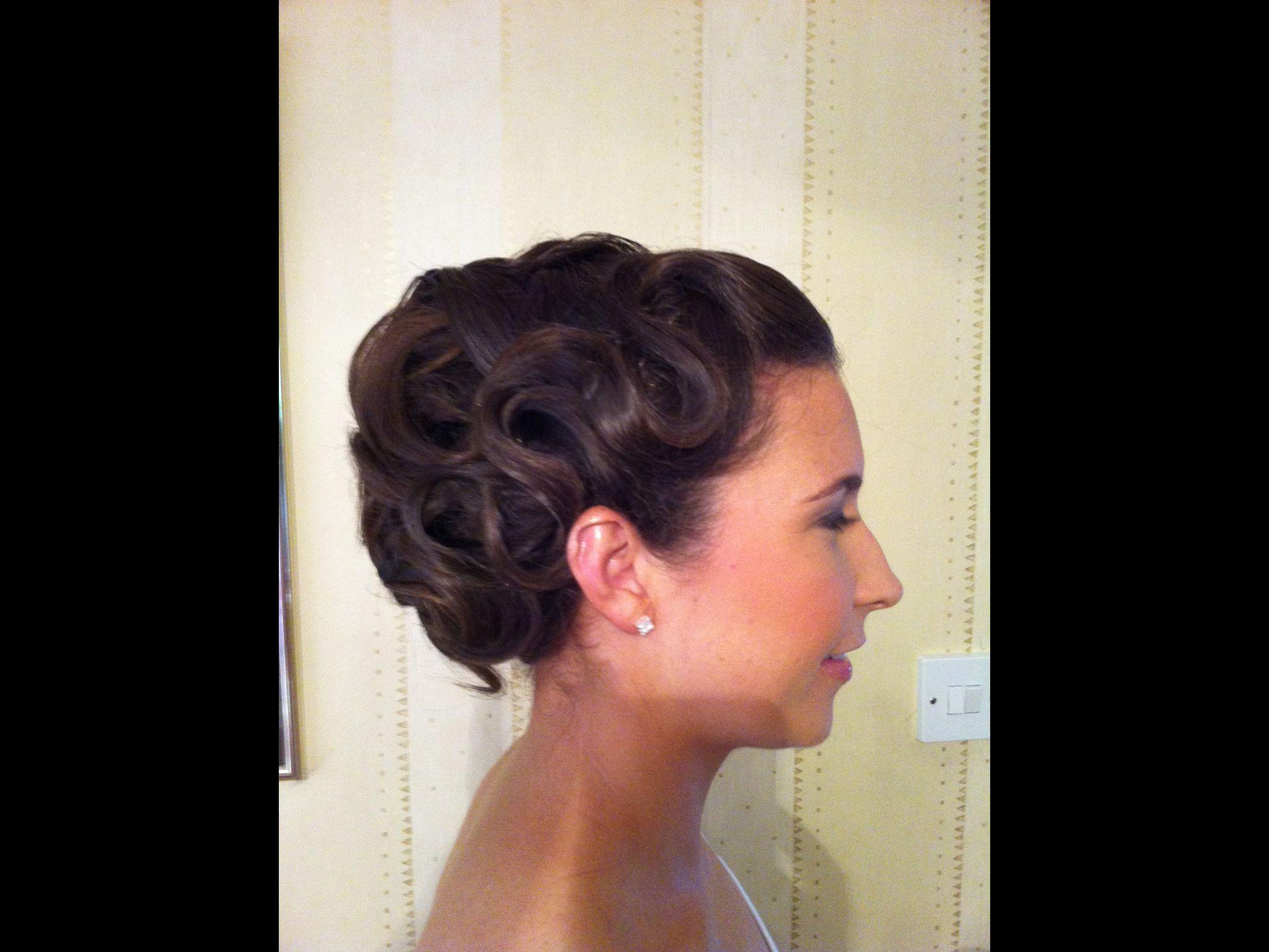 bride bridal wedding hair upstle updo vintage finger waves
