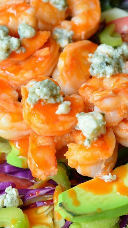 .Buffalo Shrimp Salad with Homemade Blue Cheese Dressing ~ Amazing, simple and fast salad... Buffalo sauteed jumbo shrimp on a bed of greens and veggies, topped with blue cheese crumbles. #buffaloshrimp