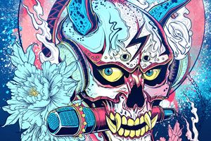 Works by Sean Wei – view more (demonic) images @ http://www.juxtapoz.com/Illustration/works-by-sean-wei – #illustrations #lightningskull #seanwei