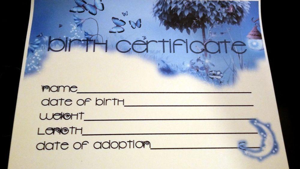 FANTASY BLUE Reborn Baby Birth Certificate On Heavy Paper Card Stock - copy blank birth certificate pdf