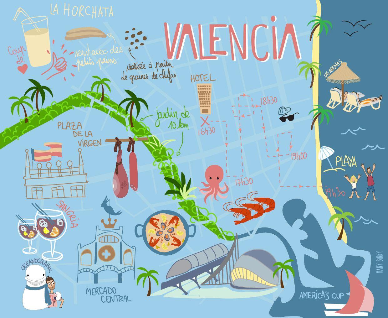 Valencia Map Of Spain.Valencia Map Par Mary Birdy Maps In 2019 Valencia Map Valencia