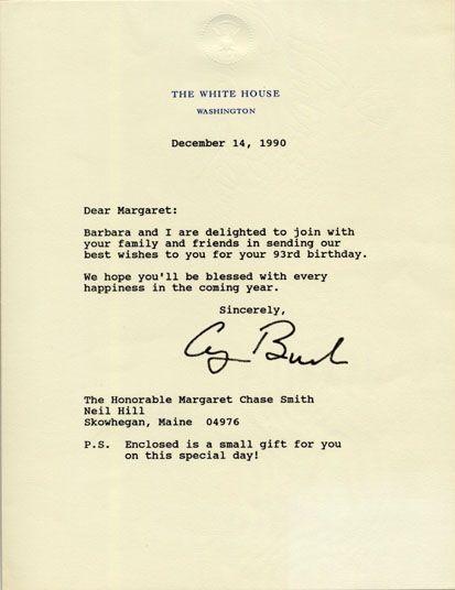 Birthday letter sent by President George H. W. Bush to Senator ...