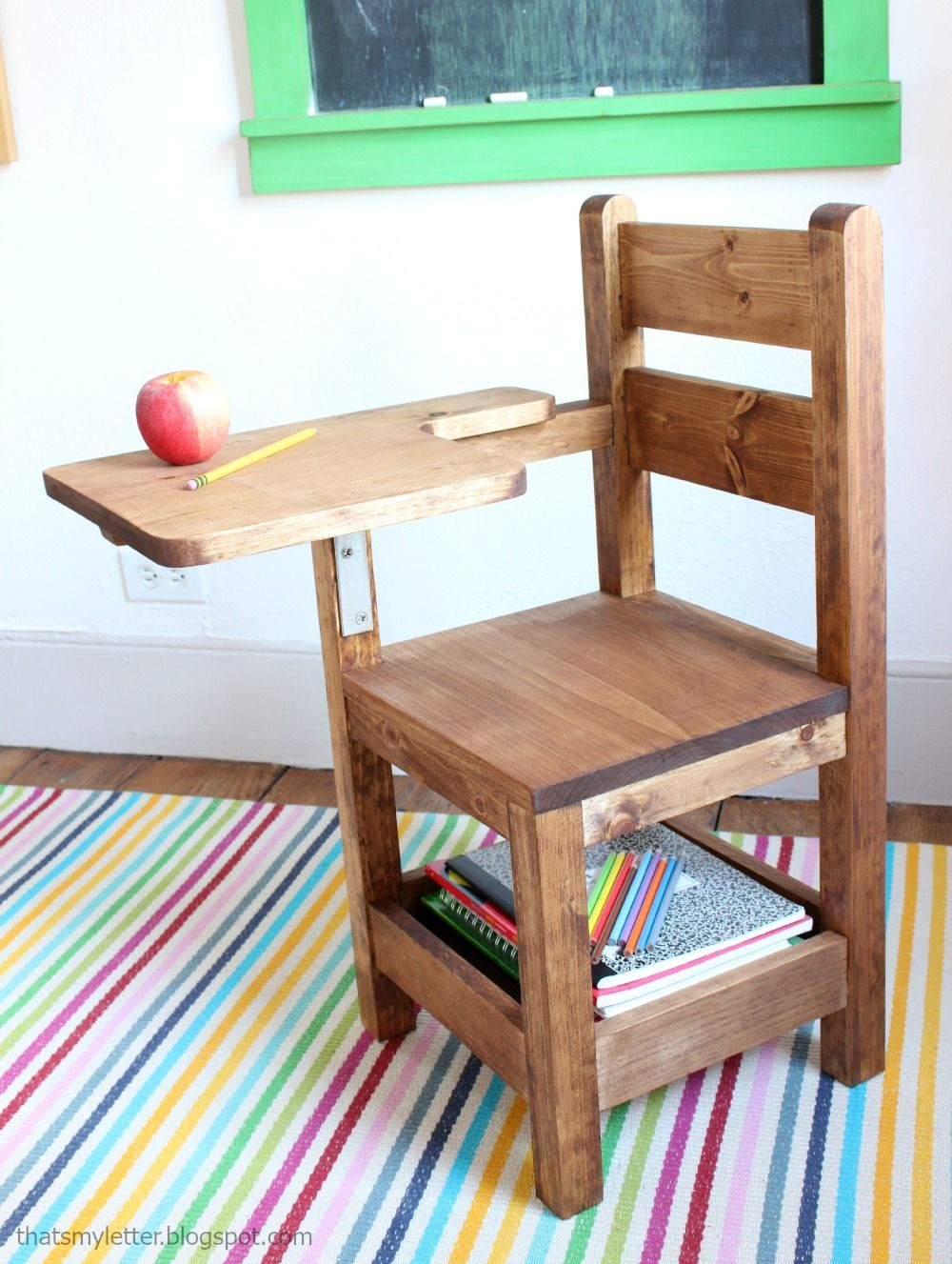 ana white build a schoolhouse chair with writing pad. Black Bedroom Furniture Sets. Home Design Ideas