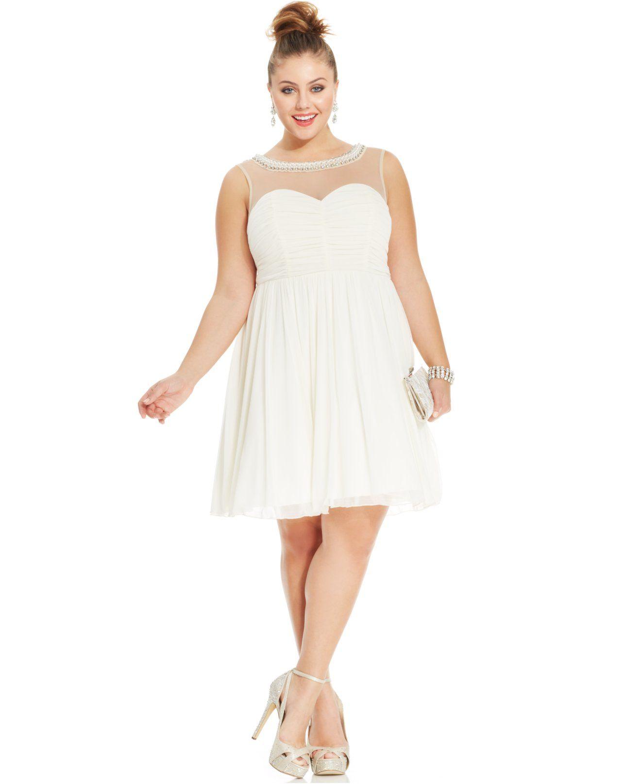Trixxi Plus Size Illusion Ruched A-Line Dress - Dresses - Plus Sizes ...