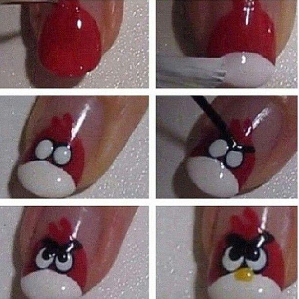 Angry birds nail art tutorial !♥ | Nails | Pinterest | Bird nail ...
