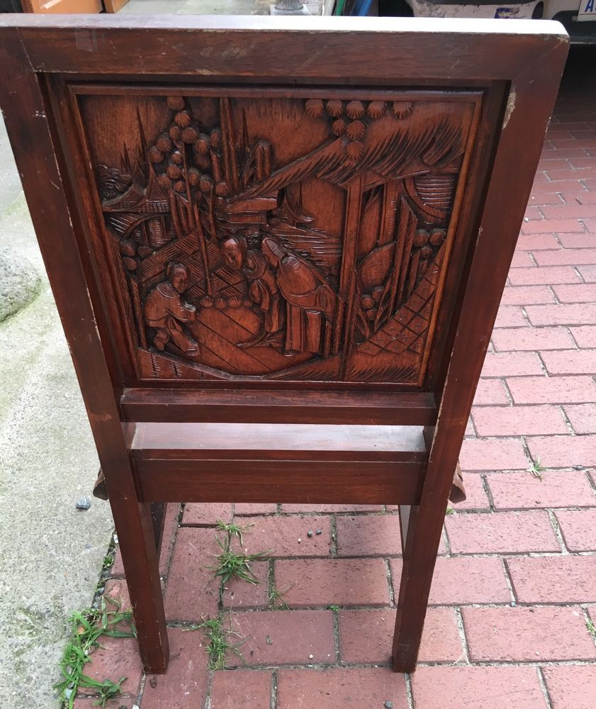 Fine Old Carved Chinese Asian Chair   eBay