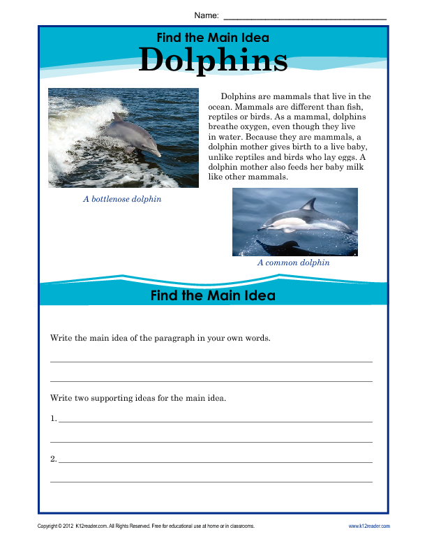 1st or 2nd Grade Main Idea Worksheet about Storms – Finding the Main Idea Worksheets