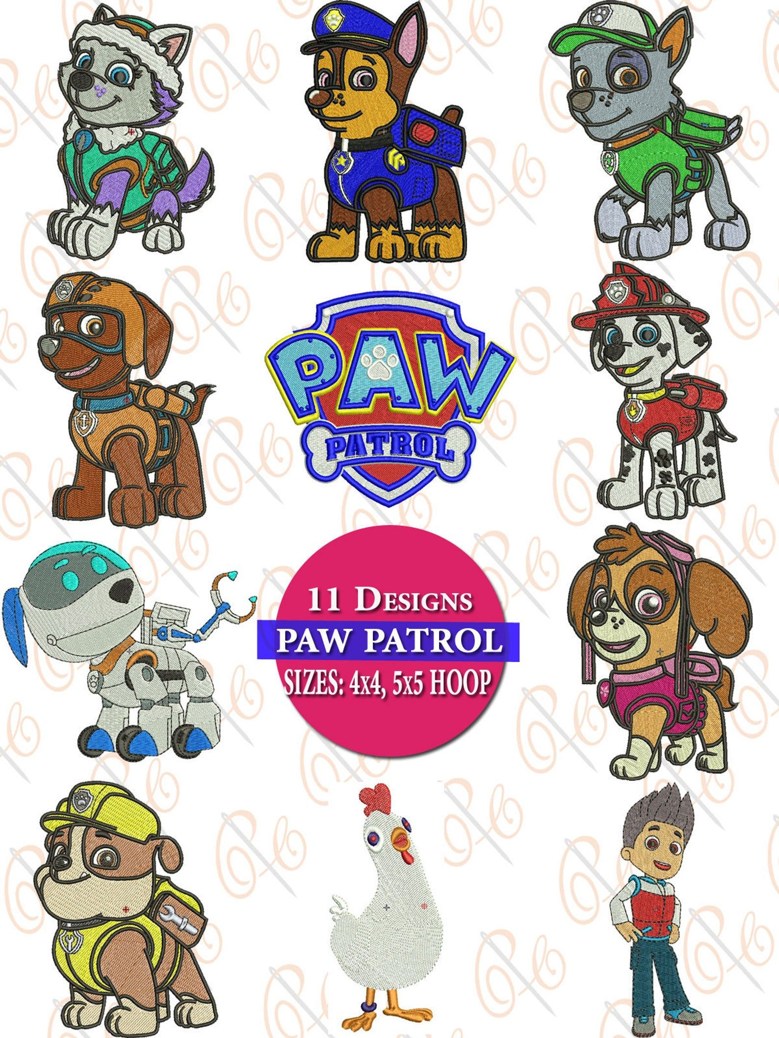 Paw Patrol Machine Embroidery Design, (Set Of 11), Chase, Marshal, Zuma, Skye, Robo Dog, Everest, Rocky, paw patrol embroidery designs - Machine embroidery patterns, Embroidery design sets, Computerized embroidery machine, Embroidery designs, Machine embroidery, Embroidery patterns - MemoryCard