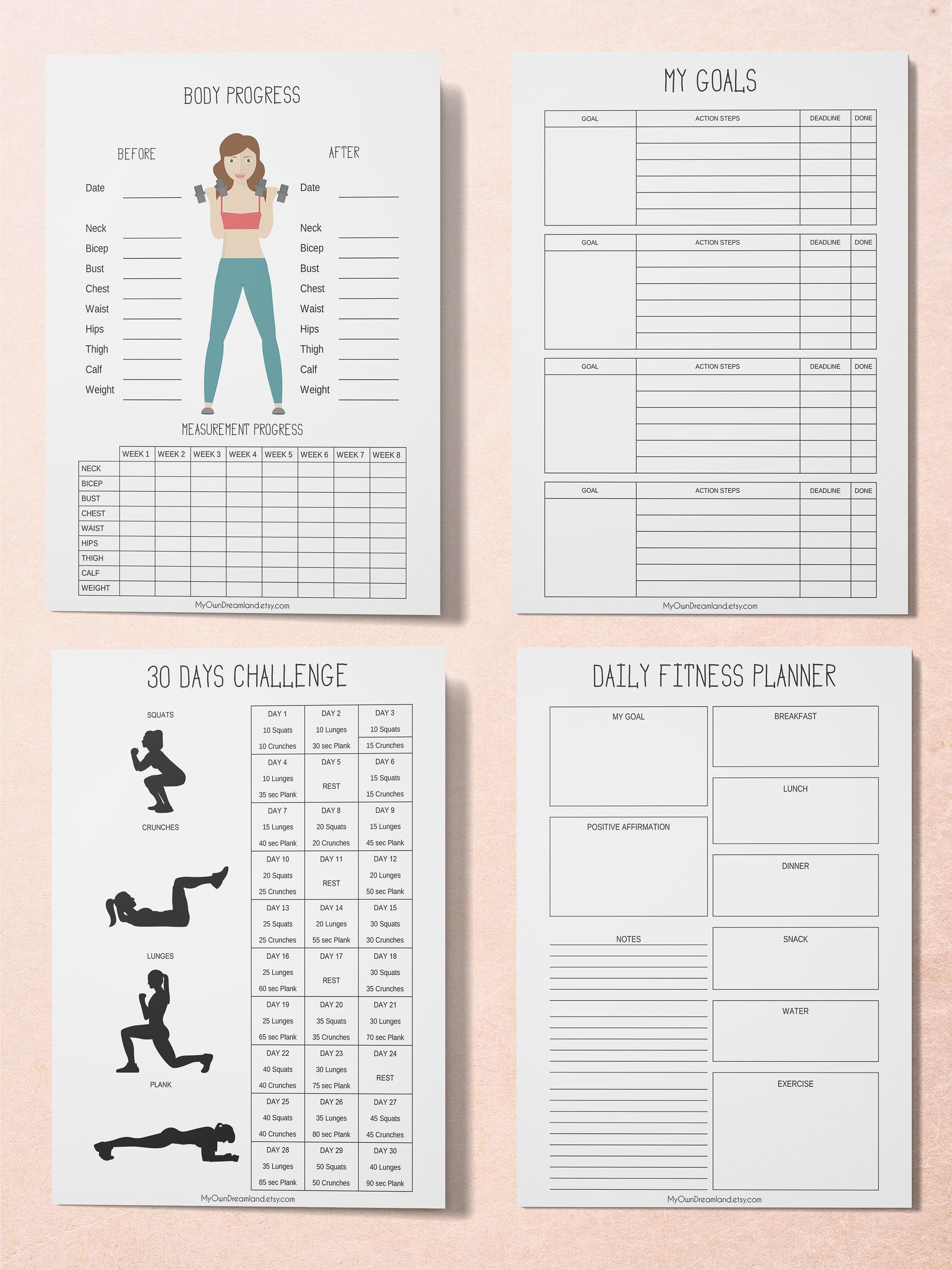 Workout Planner, Fitness Planner, Printable Planner Kit, Workout Tracker Printable -   16 fitness Journal printable ideas