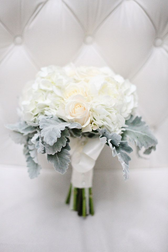 White Bouquet White Roses And Dusty Miller Modern Wedding