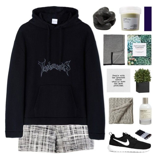 """CAN WE GO BACK TO THE WORLD WE HAD?"" by nxstalgia ❤ liked on Polyvore featuring Boutique Moschino, Vetements, NIKE, Bedeck, Le Labo, Crate and Barrel, Oly, Barneys New York and Davines"