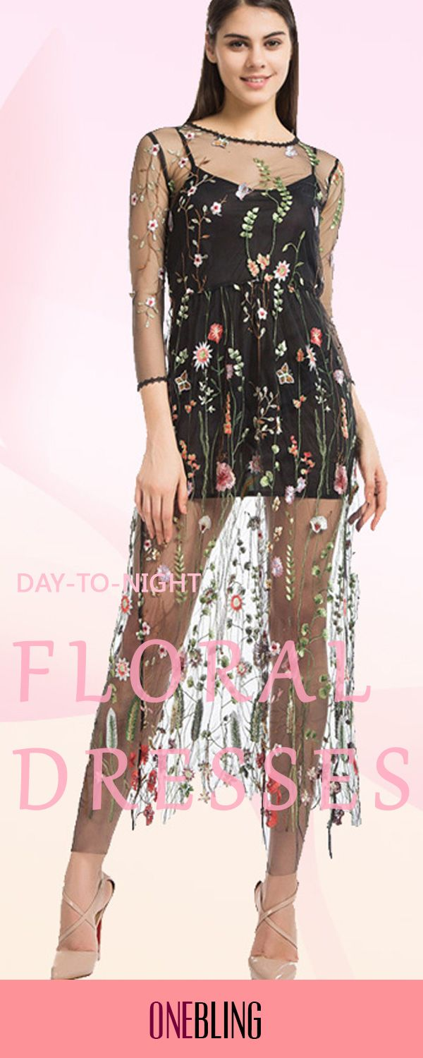 Women embroidery flower casual dress mesh maxi dress beach long