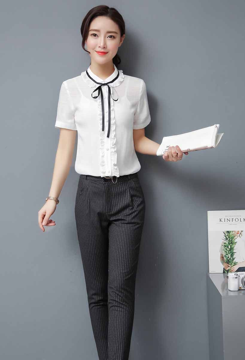 eb37bacb05a741 Women's #white short sleeve #shirts with ruffle style design, Neck tie,  casual, leisure, office Occasions.