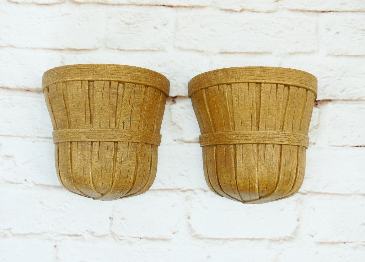 Set 2 Vintage 70s Country Basket Hanging Wall Planters Vases Sconces ...