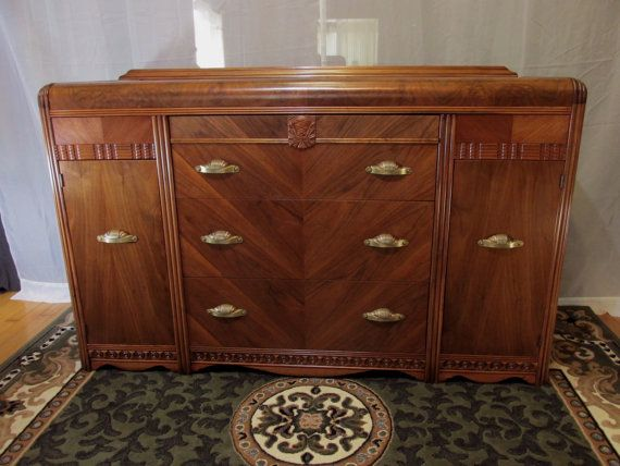Restored Art Deco Sideboard With Waterfall Top