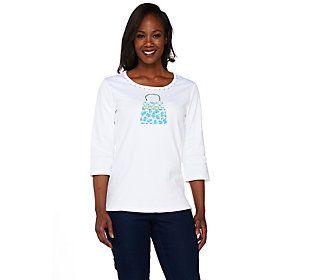 Quacker Factory Lady Leopard 3/4 Sleeve T-shirt