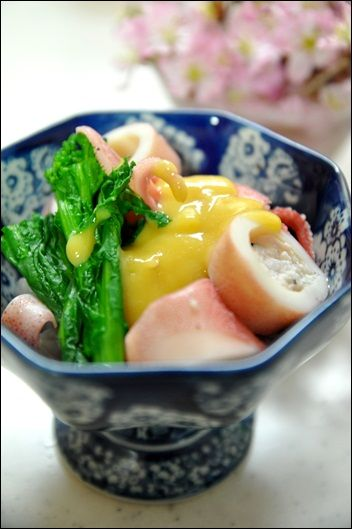 Ika Su-Miso Ae, Boiled Squid and Broccoli Rabe with Golden Sweet and Sour Miso Sauce - Japanese Food
