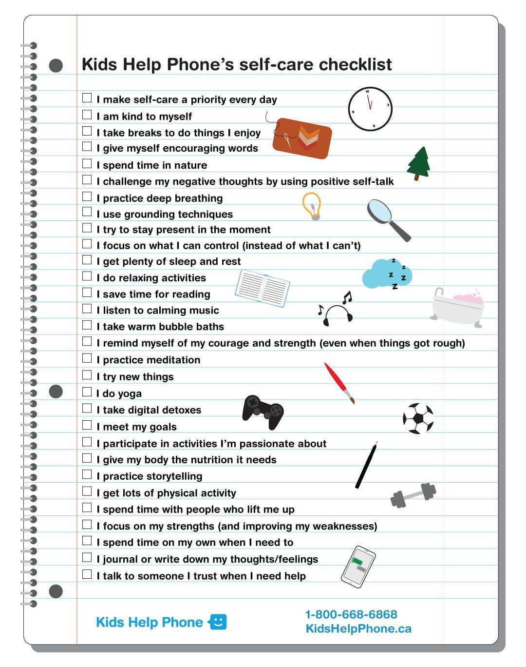 selfcare checklist Helping kids, Positive self talk