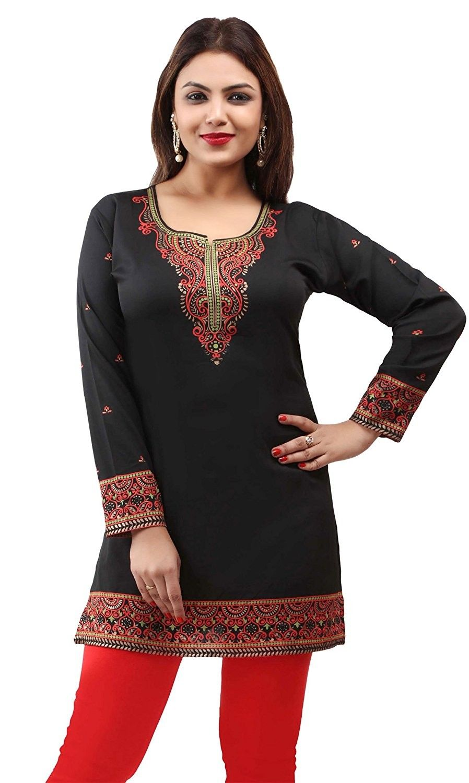24b539fe61 Indian Kurti Women's Tunic Top Printed Blouse India Clothing - Black 5 -  CR180KI3EIU - Women's Clothing, Tops & Tees, Blouses & Button-Down Shirts  ...