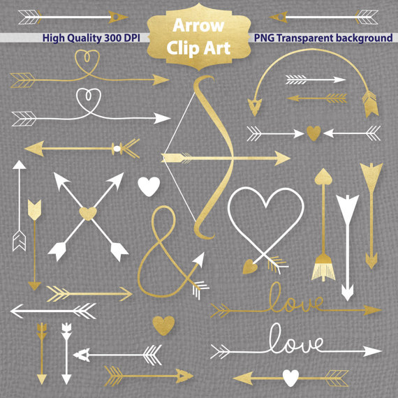 Arrow clipart, Digital clipart, printable arrows, gold ...