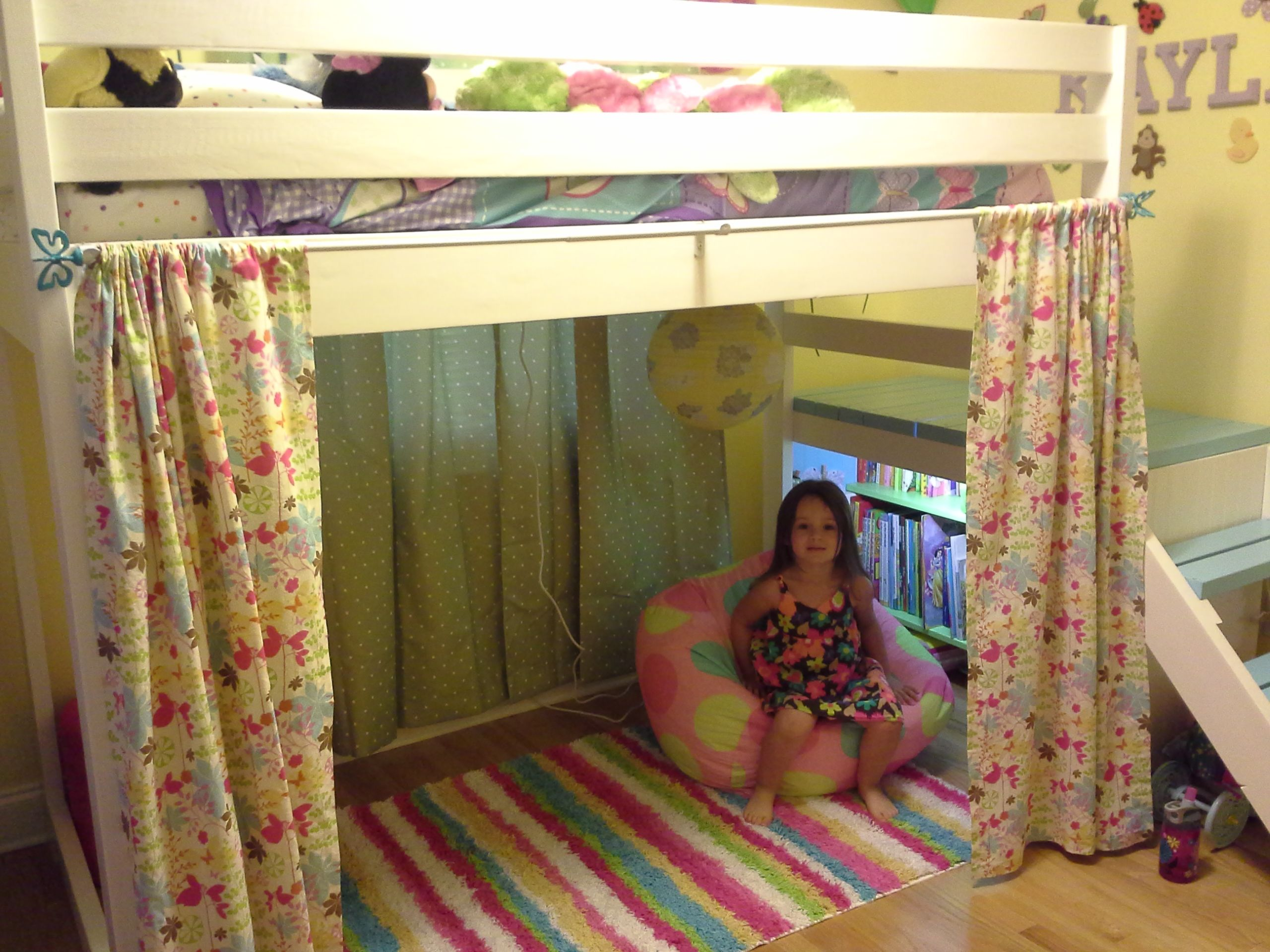 Camp loft bed with added book shelf and curtain do it yourself camp loft bed with added book shelf and curtain diy projects solutioingenieria Gallery
