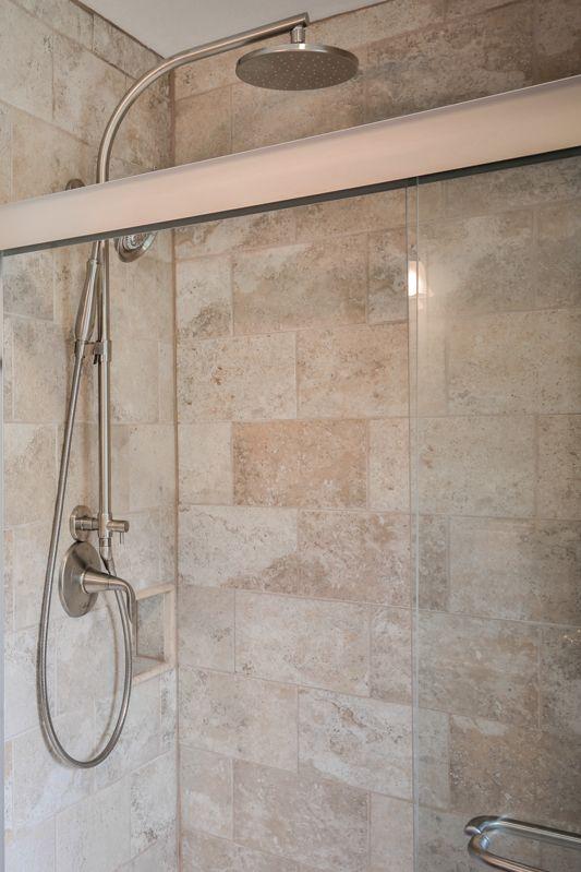 Kohler Rain Head Plus Handheld Shower Fixtures Travertine Tile