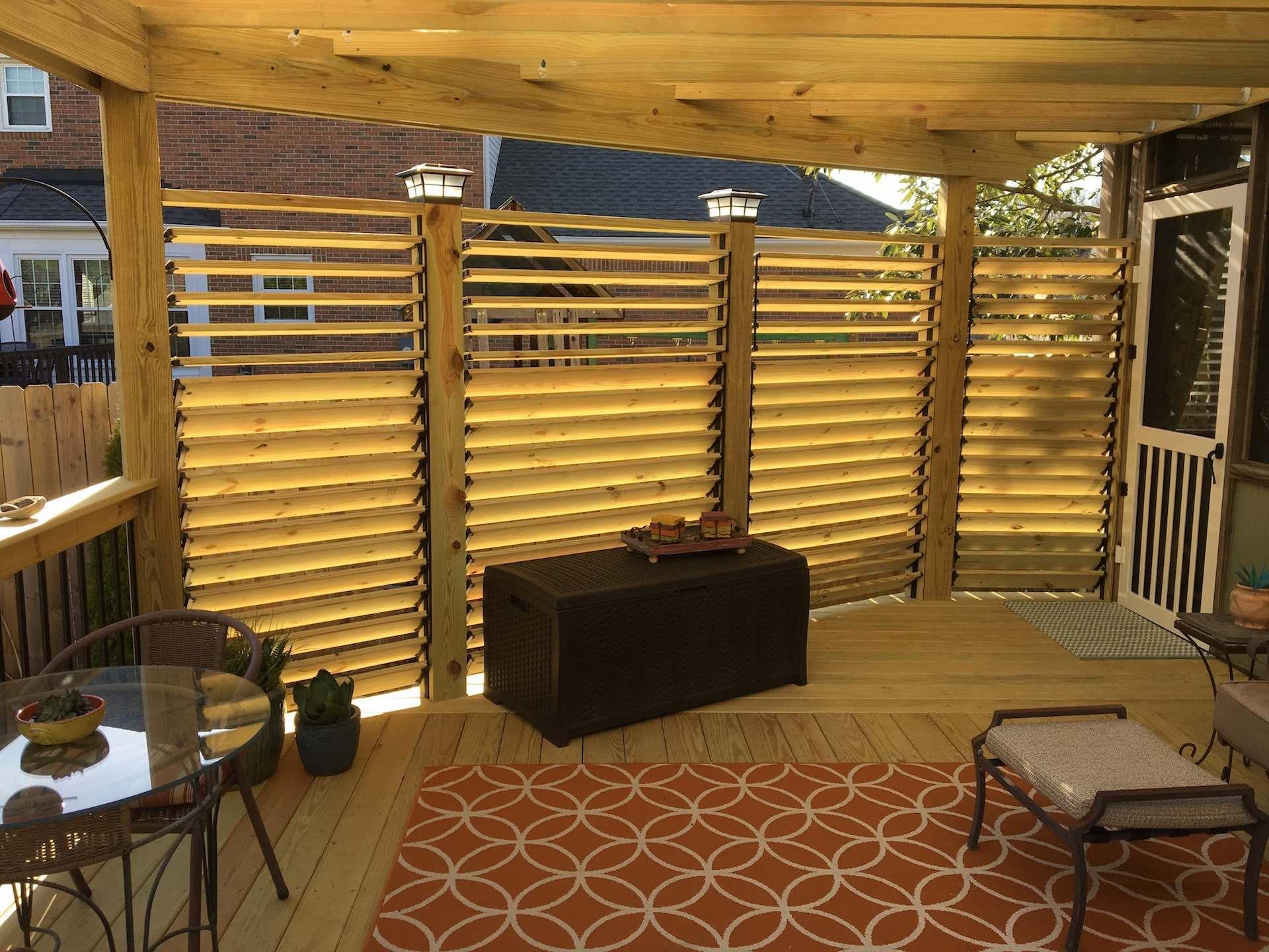 louvered deck railing | found on johngreenbuilds | front porch