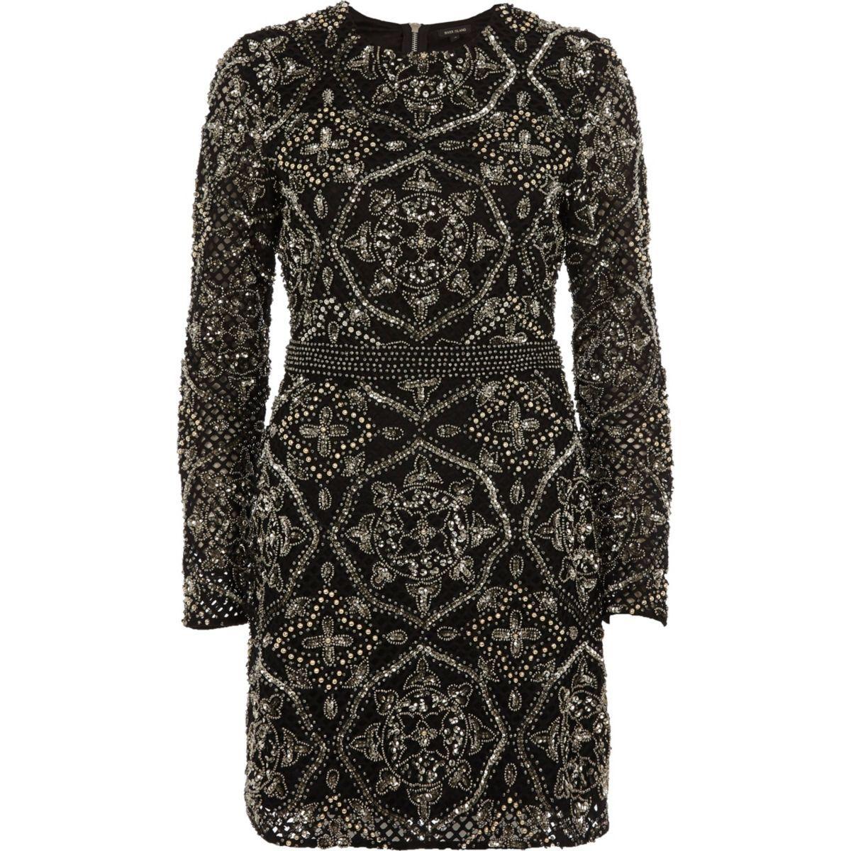 c6dd3542de Black sequin embellished bodycon mini dress - Swing Dresses - Dresses -  women