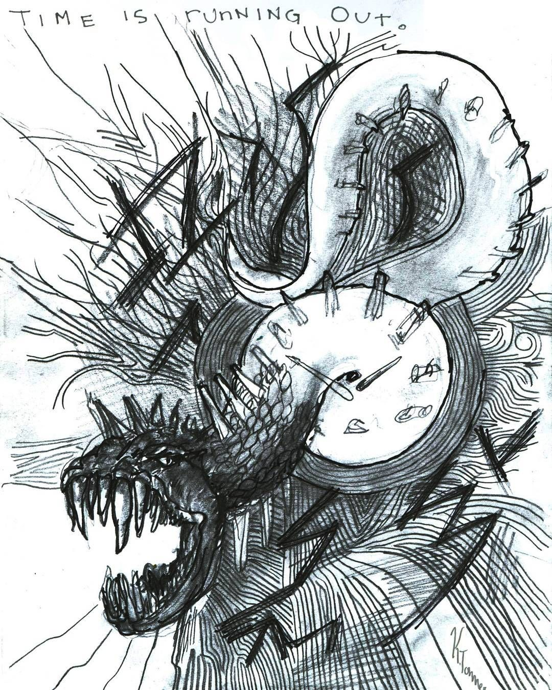 Time Is Running Out Pencil Drawing Drawing Blackandwhite