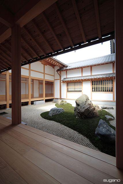 広縁から中庭を望む 臨済宗永保寺 岐阜県 和風建築 寺院建築