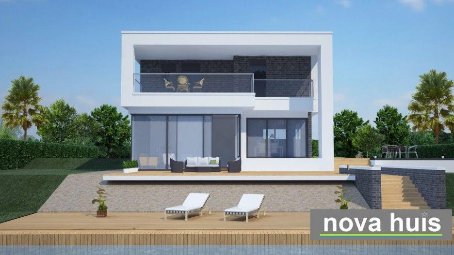 Nova huis moderne waterkant woning in kubistische ontwerp en