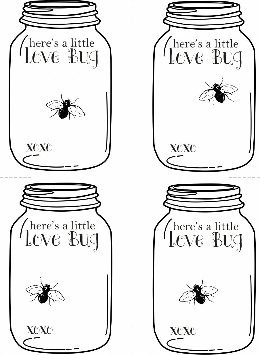 Valentines Love Bug Mason Jar Printable Cards Fylm Pinterest