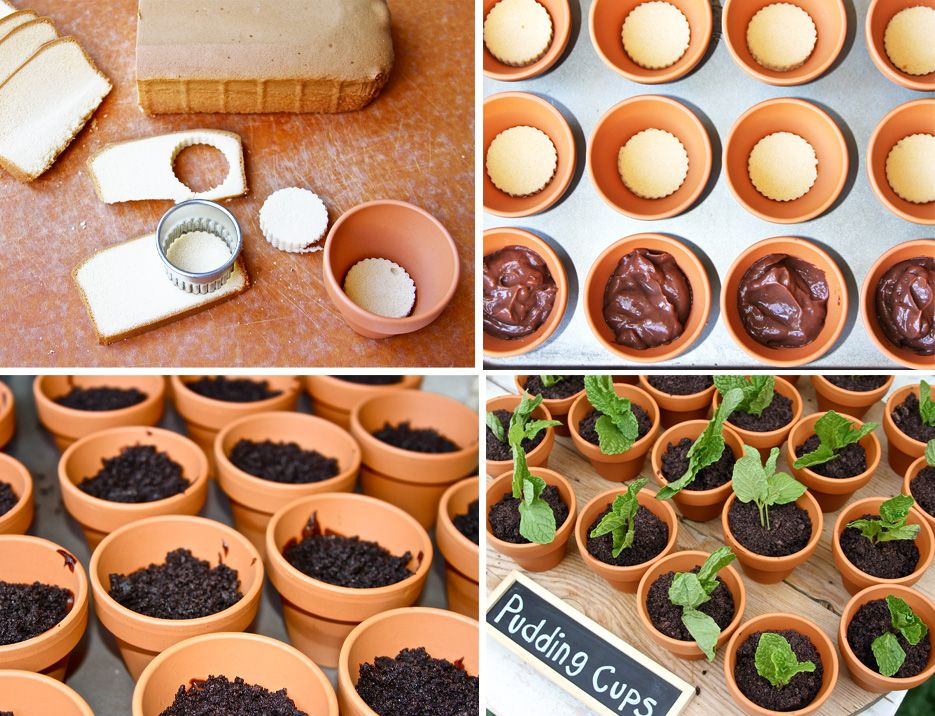 Chocolate Pudding Pots with Oreo Crumbles - So cute for little Birthday Party.