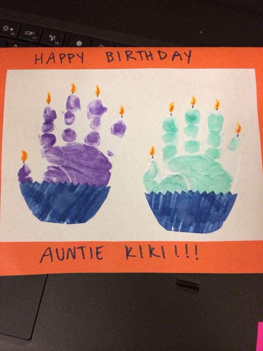 Handprint Birthday Card Completed Projects Pinterest Birthdays