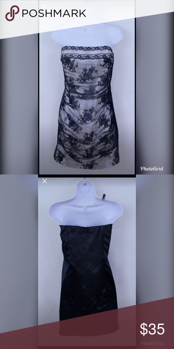 3b6261c2b75 Jessica McClintock Strapless Cocktail Dress New with Tag - Size 13 Juniors Strapless  Dress. This lace black and white dress is amazing for all seasons.