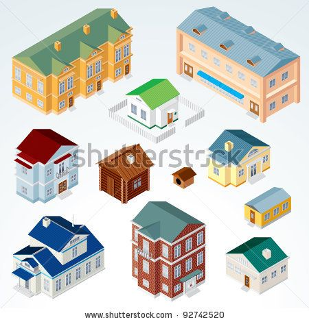 Set Of Isolated Isometric Buildings Illustration Of Various Urban And Rural Houses And Dwellings Detailed Vector Clip Art W Ideias Instagram Instagram Cidade