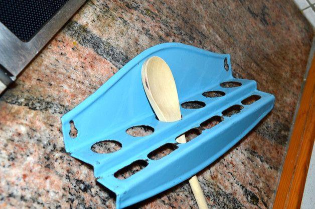 Vintage Kochlöffelhalter in Emaille Shabby - küche deko wand