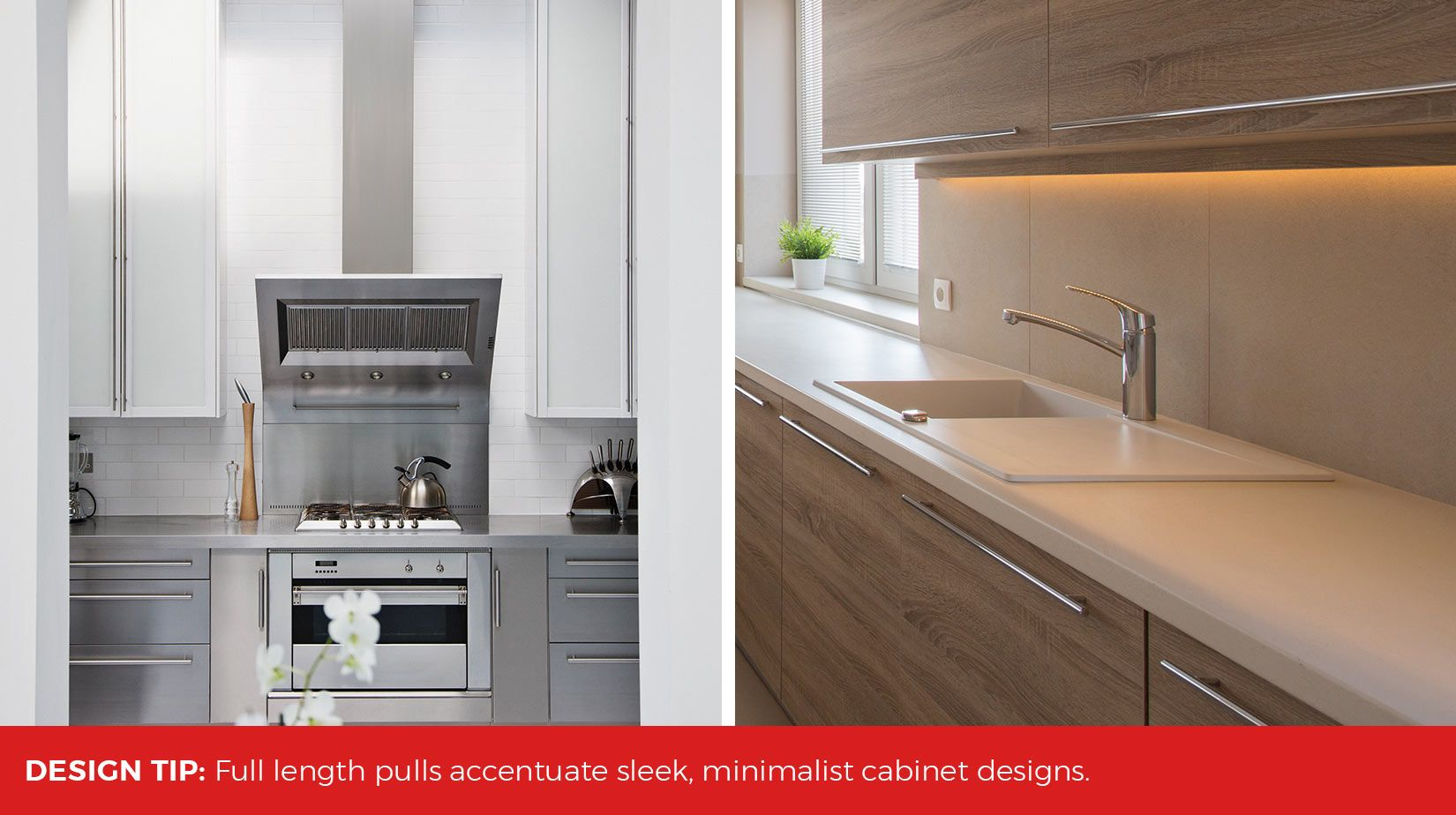 Full Length Cabinet Pulls Are A Great Option For Long Drawers And