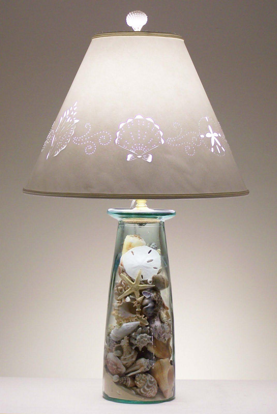 How to Make a Seashell Lamp Seashells lamp, Beach themed