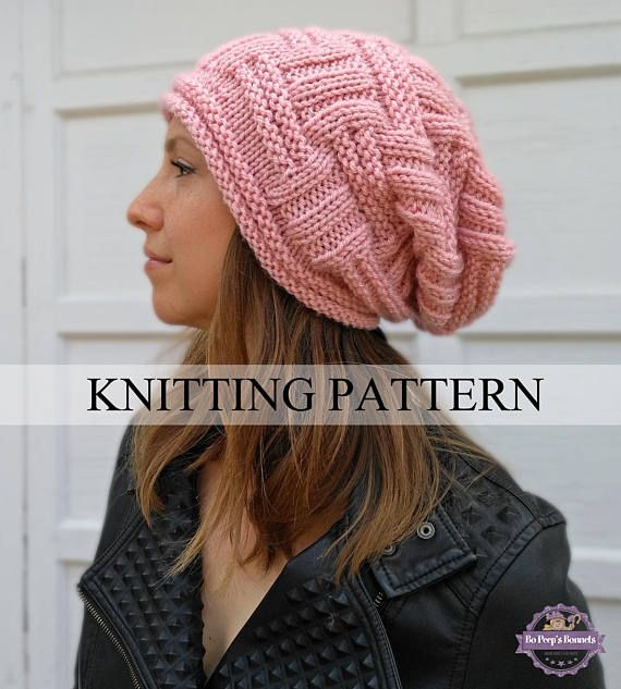 3d5a9892b48 This slouchy beanie KNITTING PATTERN is an easy hat pattern that you can  knit up in