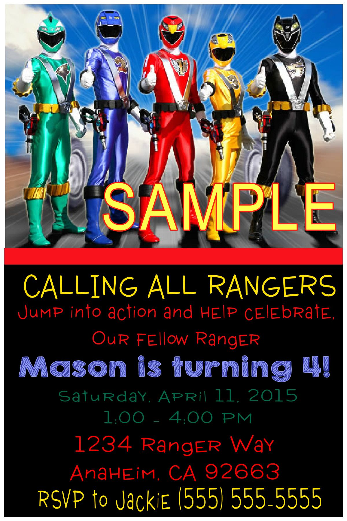 Power Rangers Birthday Invitation Please click on invite to