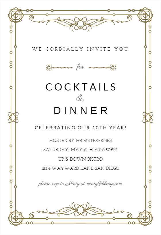 Classic Border Party Invitation Template Free Greetings Island Dinner Invitation Template Event Invitation Templates Invitation Template